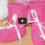 Вязание пинеток спицами для новорожденных — видео урок с описанием.