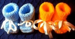 Ввидео урок вязания детских пинеток спицами